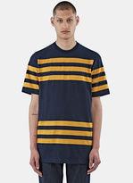 Marni Men's Short Sleeved Striped T-shirt In Navy And Mustard
