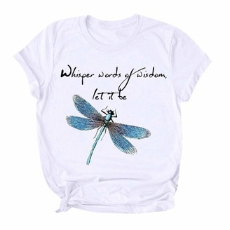 CUTUDE Short Sleeve T-Shirt Women's Summer Elephant and Dandelion Print Ladies Fashion Shirt Casual Pullover Tees O-Neck Tops for Outdoor (Black M)