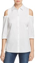 Foxcroft Cold Shoulder Button Down Shirt