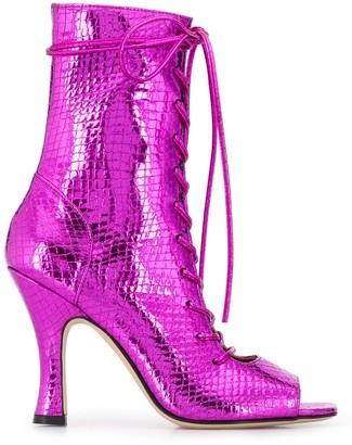 Paris Texas metallic lace-up boots