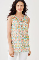 J. Jill Batik-Print Button-Front Top
