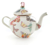 Mackenzie Childs MacKenzie-Childs White Butterfly Garden 4-Cup Teapot