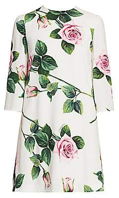 Dolce & Gabbana Women's Rose Print Three-Quarter Sleeve Shift Dress