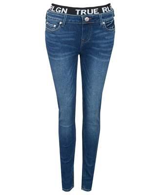 True Religion Halle Logo Waist Band Mid Rise Jeans Colour: BLUE, Size: