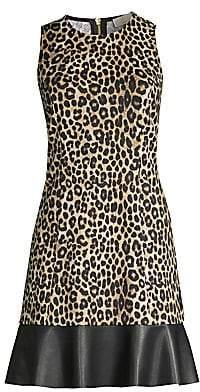 MICHAEL Michael Kors Women's Faux Leather Trim Cheetah Sheath Dress