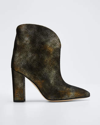 Paris Texas 100 mm Metallic Leather Ankle Booties