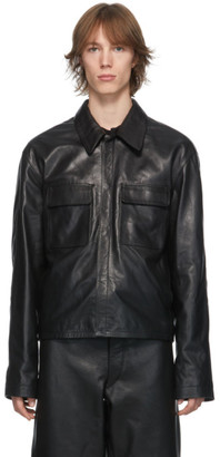Lemaire Black Leather Large Collar Jacket