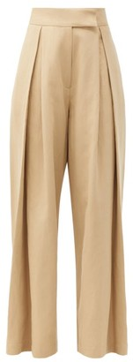 Raey Pleated-front Wide-leg Cotton-blend Trousers - Beige