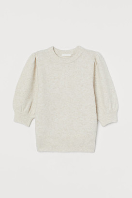 H&M Puff-sleeved Knit Sweater - Beige