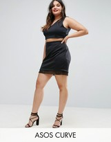 Asos Scuba Mini Skirt With Organza Trim
