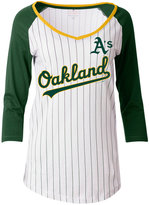 5th & Ocean Women's Oakland Athletics Pinstripe Glitter Raglan T-Shirt