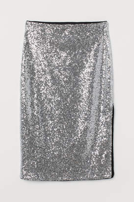 H&M Calf-length Sequined Skirt - Silver