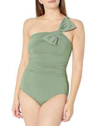 Carmen Marc Valvo Women's Ruched Shoulder ONE Piece
