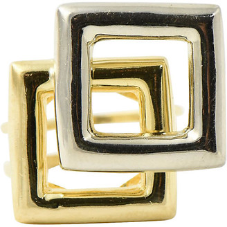 One Kings Lane Vintage 1960's Geometric Square Gold Ring - Owl's Roost Antiques