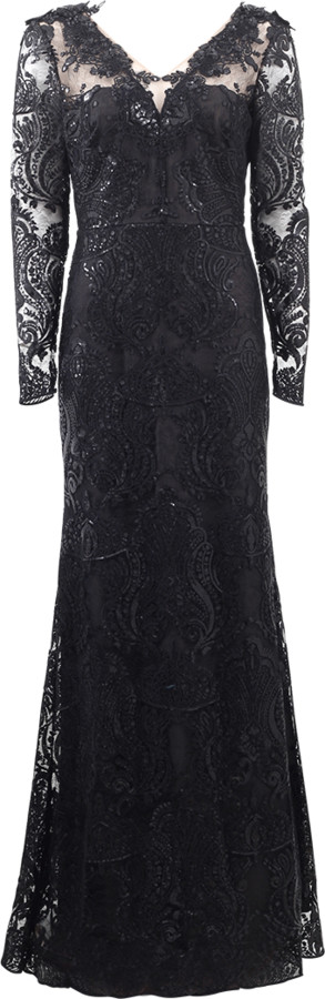 Marchesa V-Neck Lace Overlay Embroidered Gown