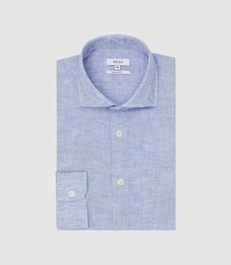 Reiss Ruban - Linen Regular Fit Shirt in Soft Blue