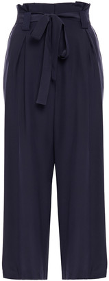 L'Agence Samira Cropped Belted Silk Wide-leg Pants