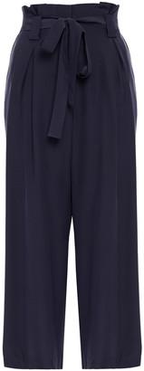 L'Agence Samira Cropped Silk Wide-leg Pants