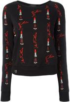 Philipp Plein lipstick embroidered sweatshirt - women - Cotton/Polyester/Spandex/Elastane - S