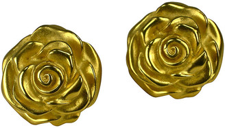 One Kings Lane Vintage Givenchy Rose Matte Detailed Earrings - Wisteria Antiques Etc