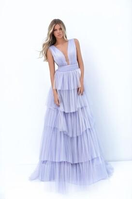 Tarik Ediz Jaclyn_Tiered Glitter Tulle Gown