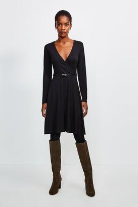 Karen Millen Long Sleeve Wrap Viscose Jersey Dress