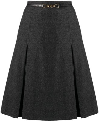 Céline Pre-Owned Pleated Detailing Belted Skirt
