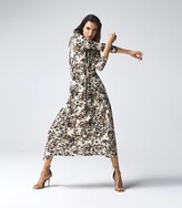 Thumbnail for your product : Reiss Bobby - Floral Printed Midi Dress in Neutral