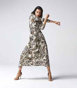 Reiss Bobby - Floral Printed Midi Dress in Neutral