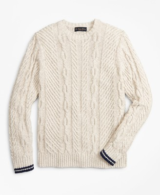 Brooks Brothers Cotton and Linen Cable Crewneck Sweater