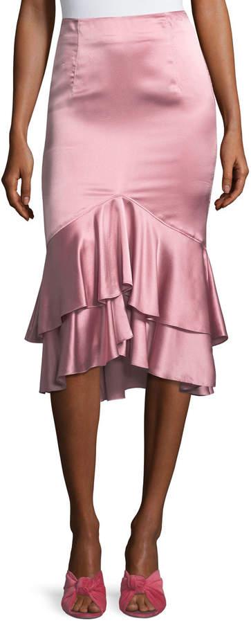 Cinq à Sept Anissa Fitted Satin Midi Skirt with Ruffled Hem