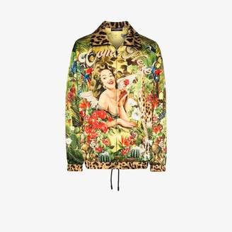 Dolce & Gabbana Tropical Pin Up satin bomber jacket