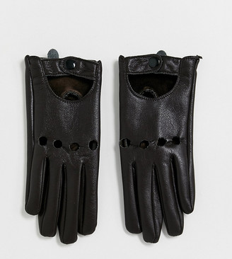 My Accessories London Exclusive chocolate leather look touch screen driving gloves