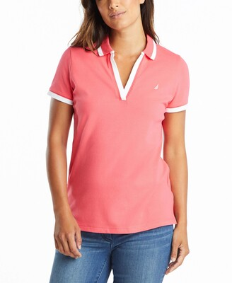 Nautica Women's Classic Fit Striped V-Neck Collar Stretch Cotton Polo Shirt