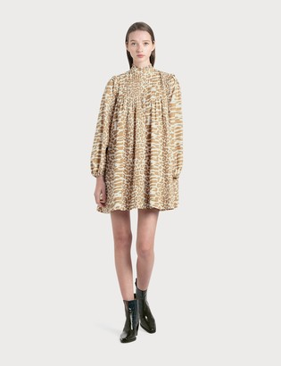 Ganni Printed Cotton Poplin Mini Dress