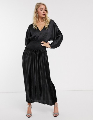 Asos Design DESIGN shirred waist pleated maxi dress in satin in black