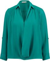 Alice + Olivia Lalita draped silk-blend blouse