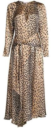 Rebecca Taylor Cheetah-Print Silk Long-Sleeve Dress