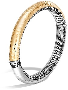John Hardy Sterling Silver and 18K Bonded Gold Classic Chain Hammered Oval Hinged Bangle