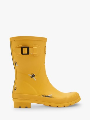 Joules Molly Bee Print Waterproof Short Wellington Boots, Yellow