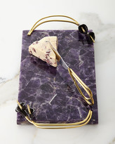 Michael Aram Calla Lily Midnight Amethyst Small Cheese Board with Knife