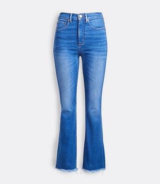 LOFT Petite Back Slit Flare Crop Jeans in Authentic Mid Indigo Wash
