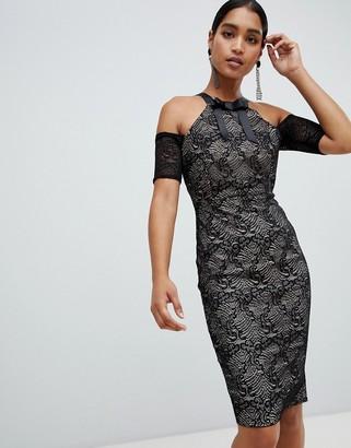 Vesper cold shoulder pencil midi dress-Black