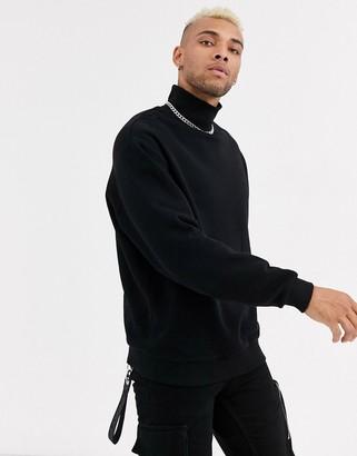 Asos DESIGN oversized funnel neck sweatshirt in black