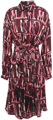 Just Cavalli Fringe-trimmed Printed Cady Dress