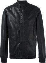 Emporio Armani zip up jacket - men - Lamb Skin/Polyamide/Polyester/Spandex/Elastane - 48