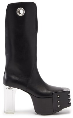 Rick Owens Kiss Plexi-heel Leather Platform Boots - Black