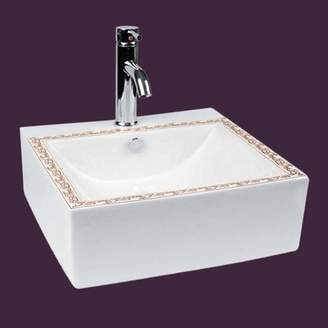 The Renovators Supply Inc. Hole Pop Up Drain Vitreous China Square Vessel Bathroom Sink with Faucet and Overflow The Renovators Supply Inc.