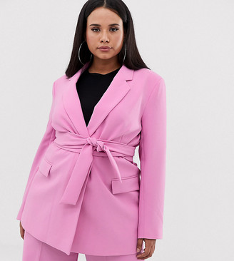 Asos DESIGN Curve wrap belted suit blazer in pink