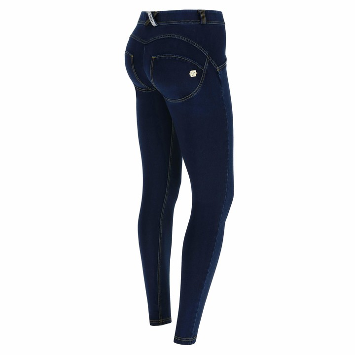Freddy WR.UP Regular-Rise Super Skinny Trousers in Dark Jersey Denim - Black Jeans-Black Seams - Medium